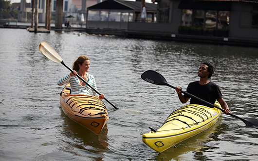 two people kayaking